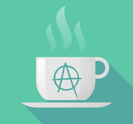 anarchist: Illustration of a long shadow cup of coffee with  an anarchy sign Illustration