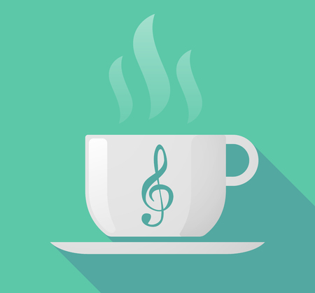 Illustration of a long shadow cup of coffee with  a g clef Ilustração