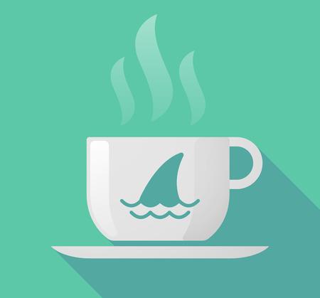 great coffee: Illustration of a long shadow cup of coffee with  a shark fin Illustration