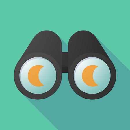 night vision: Long shadow illustration of a binoculars viewing a moon