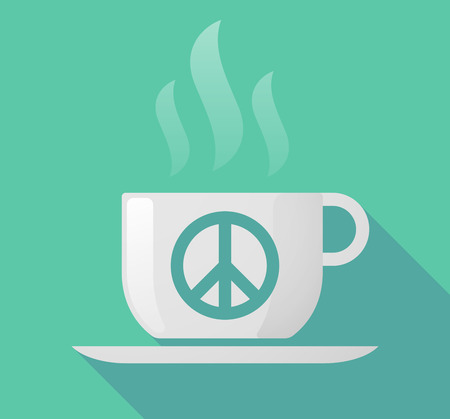 antiwar: Illustration of a long shadow cup of coffee with  a peace sign