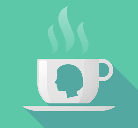 woman drinking milk: Illustration of a long shadow cup of coffee with  a female head