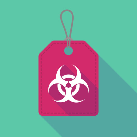 biohazard: Illustration of a long shadow label icon with a biohazard sign
