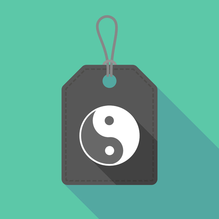 karma concept: Illustration of a long shadow label icon with a ying yang Illustration