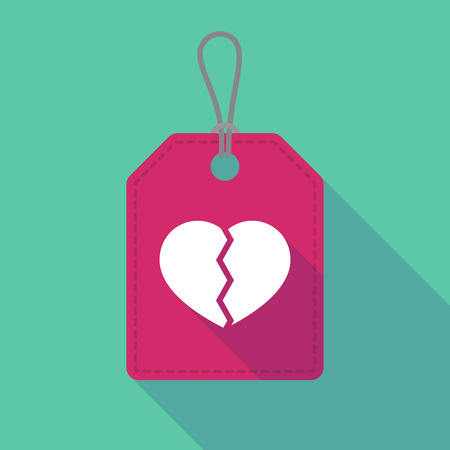 breakup: Illustration of a long shadow label icon with a broken heart Illustration