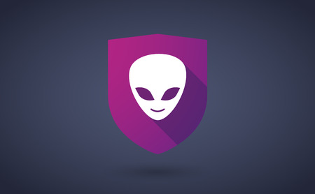 alien face: Illustration of a long shadow shield icon with  an alien face