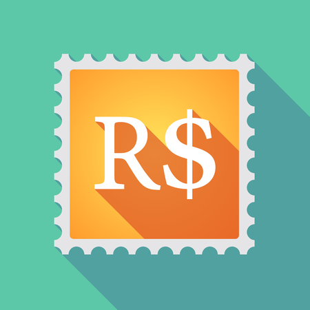 philatelist: Illustration of a long shadow mail stamp icon with a brazillian real currency sign Illustration