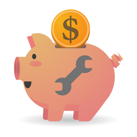 monkey wrench: Illustration of an isolated piggy bank with a wrench