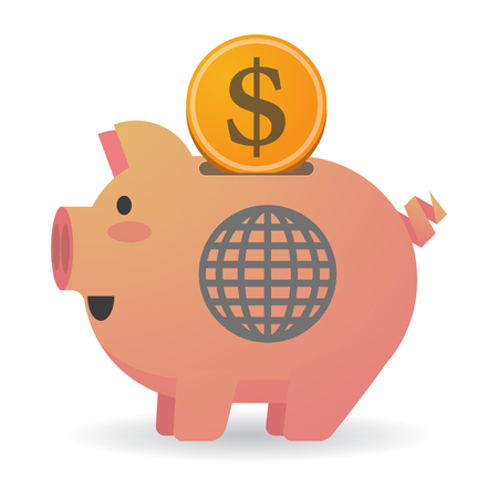 banco mundial: Illustration of an isolated piggy bank with a world globe