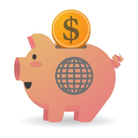 banco mundial: Ilustración de una hucha aislada con un globo del mundo