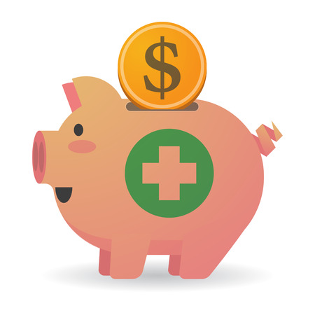 pharmacy sign: Illustration of an isolated piggy bank with a round pharmacy sign Illustration