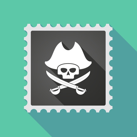 sabre: Illustration of a long shadow mail stamp icon with a pirate skull