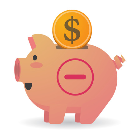 subtraction: Illustration of an isolated piggy bank with a subtraction sign Illustration