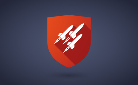 nuclear weapons: Illustration of a long shadow shield icon with  missiles