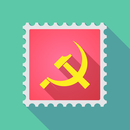 communist: Illustration of a long shadow mail stamp icon with  the communist symbol
