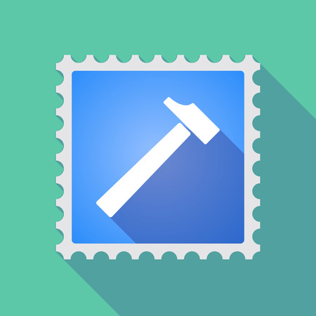 philately: Illustration of a long shadow mail stamp icon with a hammer