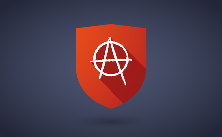 anarchy: Illustration of a long shadow shield icon with  an anarchy sign