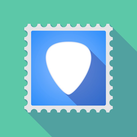 plectrum: Illustration of a long shadow mail stamp icon with a plectrum Illustration