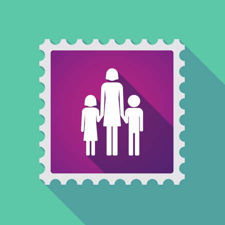 single parent: Illustration of a long shadow mail stamp icon with a female single parent family pictogram