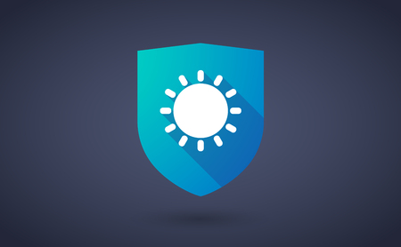 protected: Illustration of a long shadow shield icon with  a sun Illustration