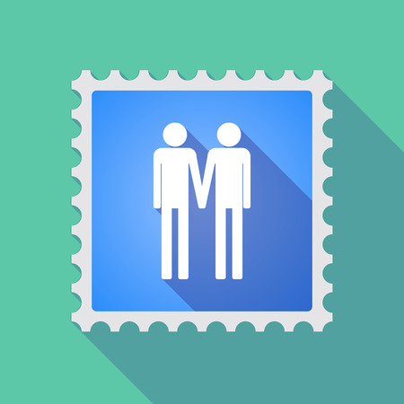 homosexuality: Illustration of a long shadow mail stamp icon with a gay couple pictogram