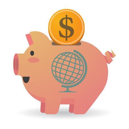 banco mundial: Ilustración de una hucha aislados con un globo terráqueo mesa