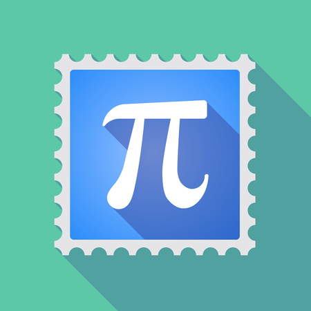 constant: Illustration of a long shadow mail stamp icon with the number pi symbol