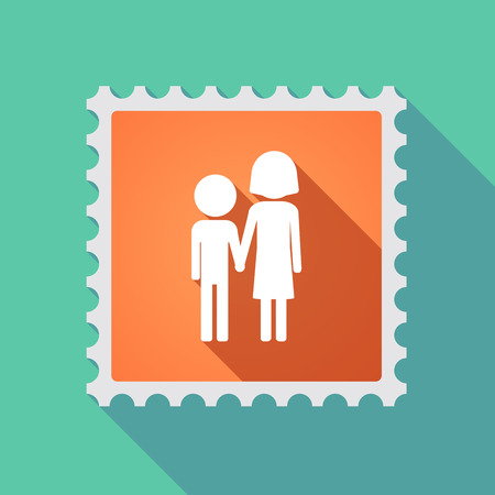 orphan: Illustration of a long shadow mail stamp icon with a childhood pictogram
