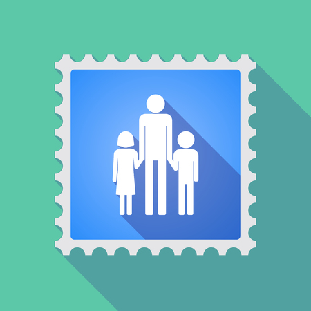 single parent: Illustration of a long shadow mail stamp icon with a male single parent family pictogram Illustration