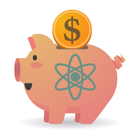 nuclear fusion: Illustration of an isolated piggy bank with an atom Illustration