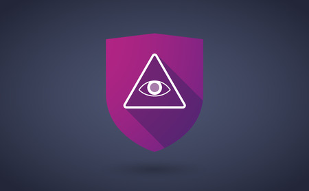 all seeing eye: Illustration of a long shadow shield icon with  an all seeing eye