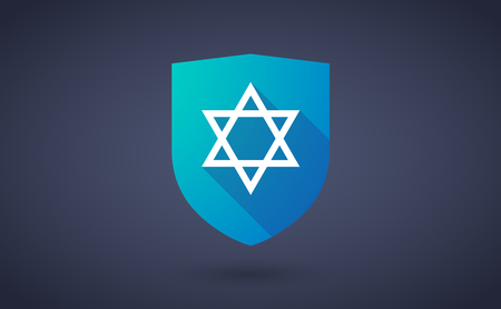 shield of david: Illustration of a long shadow shield icon with  a David star