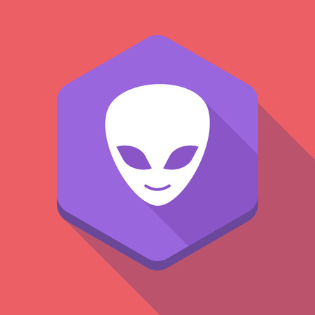 alien face: Illustration of a long shadow hexagon icon with an alien face