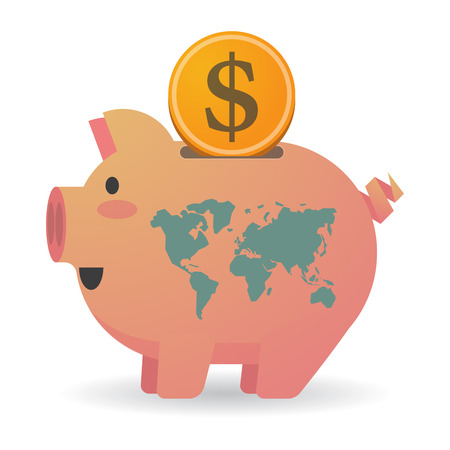 banco mundial: Illustration of an isolated piggy bank with a world map