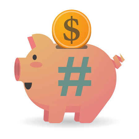 hash: Illustration of an isolated piggy bank with a hash tag