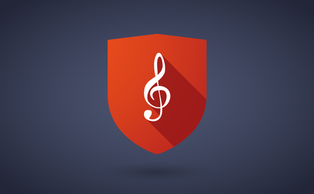 g clef: Illustration of a long shadow shield icon with  a g clef