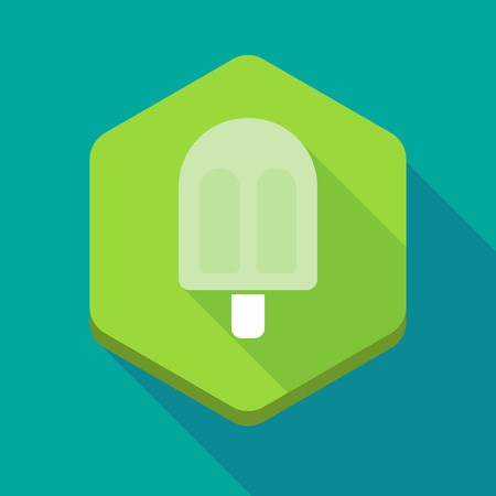sorbet: Illustration of a long shadow hexagon icon with an ice cream Illustration