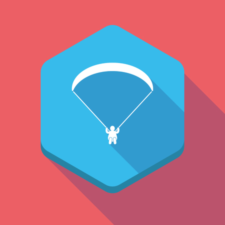 paragliding: Illustration of a long shadow hexagon icon with a paraglider Illustration