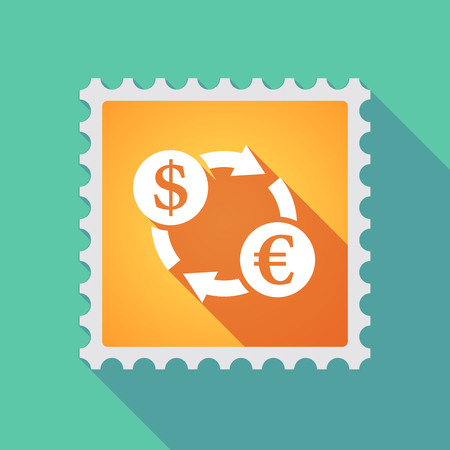 Illustration of a long shadow mail stamp icon with a dollar euro exchange sign Illustration