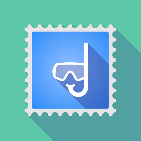 philatelist: Illustration of a long shadow mail stamp icon with a diving goggles