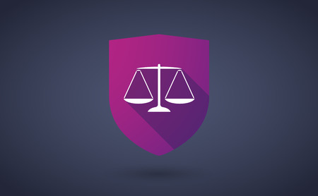tribunal: Illustration of a long shadow shield icon with  a justice weight scale sign