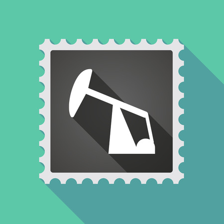 horsehead pump: Illustration of a long shadow mail stamp icon with a horsehead pump Illustration