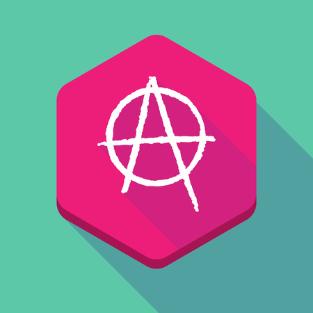social movement: Illustration of a long shadow hexagon icon with an anarchy sign