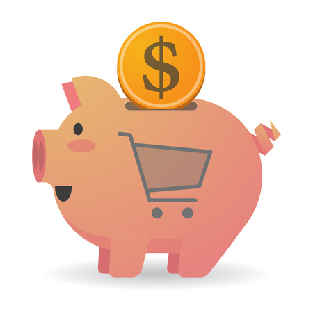 bank cart: Illustration of an isolated piggy bank with a shopping cart