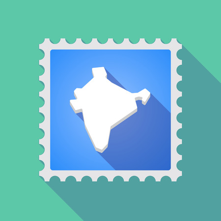 indian postal stamp: Illustration of a long shadow mail stamp icon with  a map of India
