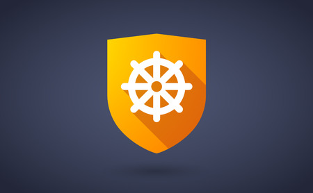 dharma: Illustration of a long shadow shield icon with  a dharma chakra sign