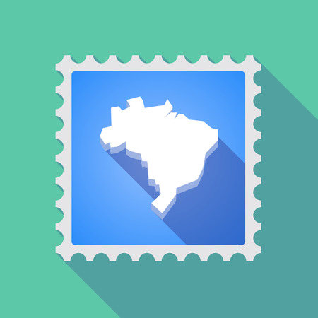 philatelist: Illustration of a long shadow mail stamp icon with  a map of Brazil