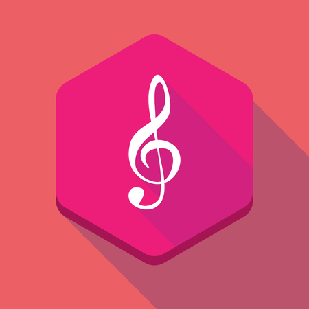 g clef: Illustration of a long shadow hexagon icon with a g clef Illustration