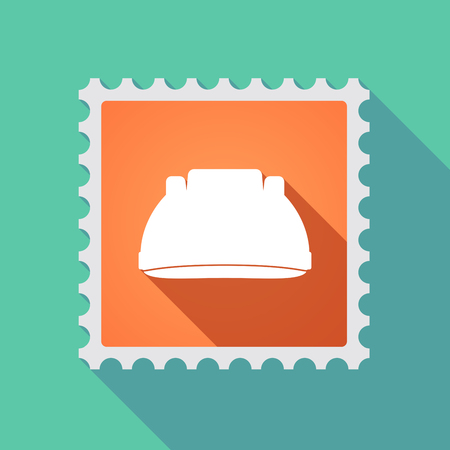 Illustration of a long shadow mail stamp icon with a work helmet