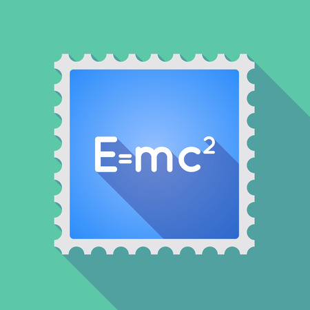 relativity: Illustration of a long shadow mail stamp icon with the Theory of Relativity formula Illustration